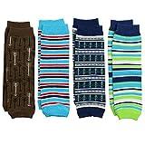 juDanzy newborn 4-pack baby leg warmers (Newborn- 15 pounds) (Blue & Brown 4 Pack)