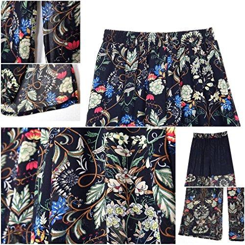 Imprimé À Élastique Haute Taille Pantalon Bigood Large Femme Chiffon Fleur Fente gqZwfp