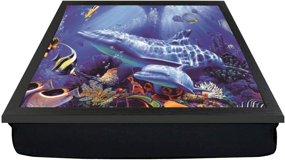 Dolphins and Fish in a sea life scene gift lap tray