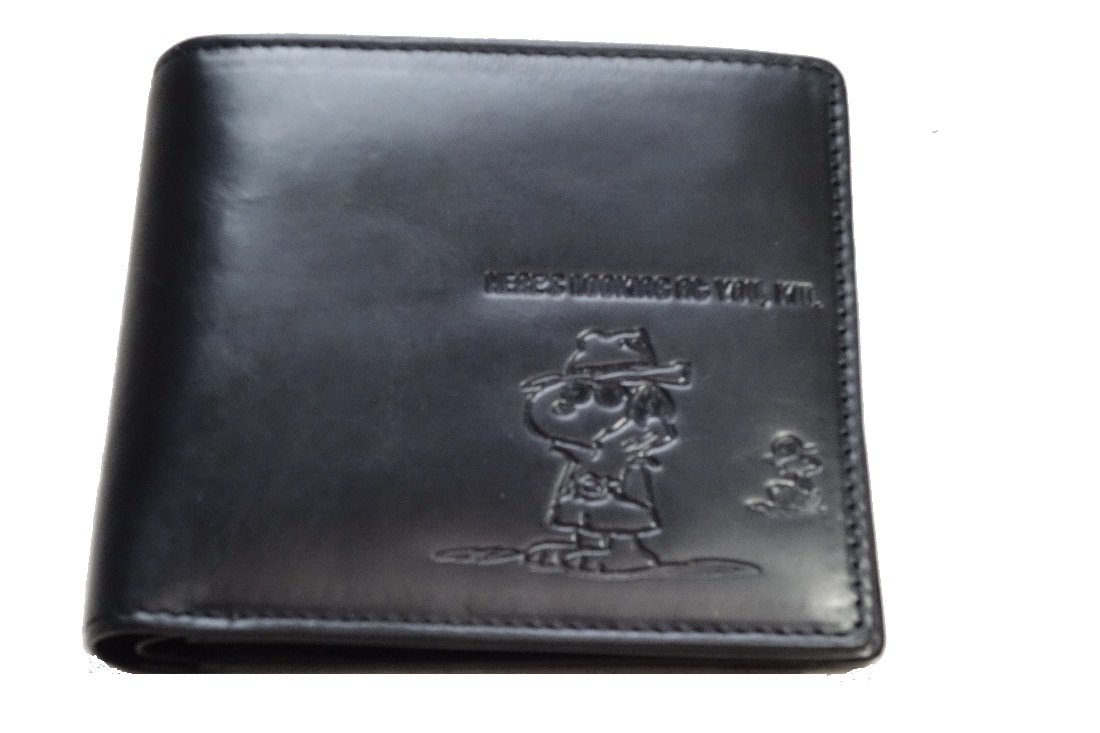 (スヌーピー) SNOOPY ブラン メンズ 財布 二つ折り 牛革レザー ハードボイルドなデザイン プレゼントに最適 (The Little) B078MSMDF4 ブラック ブラック