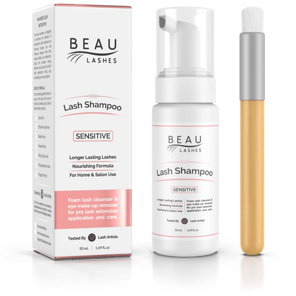 Eyelash Extension Foam Cleanser Shampoo & Brush (50ml) - Sensitive Paraben & Sulfate Free Eyelid/Lash Foaming Wash Cleaner To Remove Makeup Residue & Mascara - Perfect For Salon Use And Home Care by BEAU LASHES