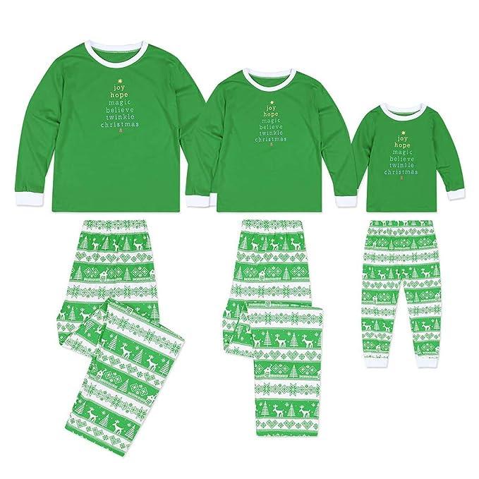 8ee7a029 Hibote Pijamas de Navidad Familiares Combinados Niños Niños Conjuntos de  Pijamas de Navidad para Adultos Pijama Infantil Estampado Pijamas para la  Familia ...