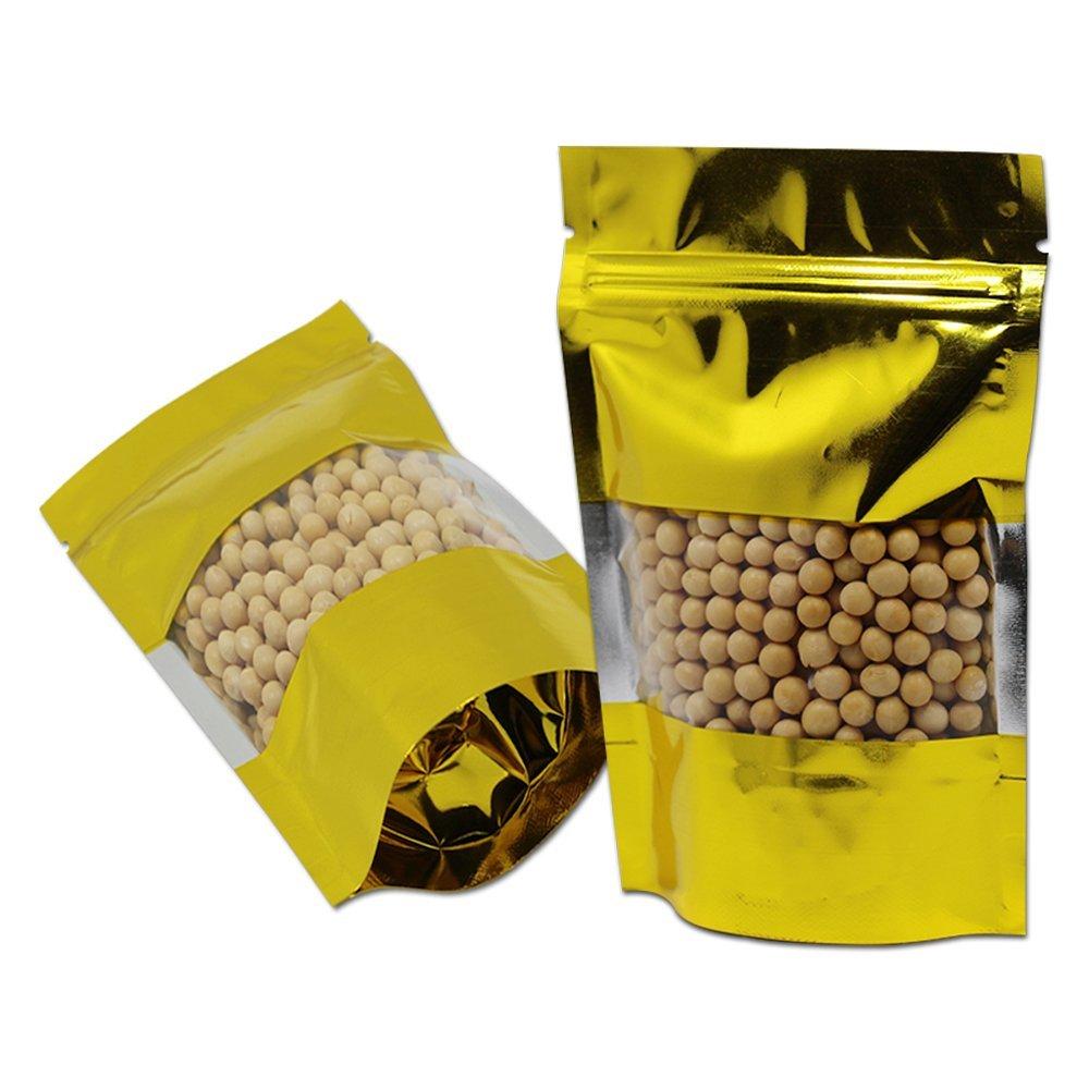 10 x 15 cm ゴールド アルミ化 自立袋 包装ポーチ 窓袋 食品の貯蔵 保存用バッグ ナッツ 乾燥果実 栗 砂糖漬けフルーツ 無毒 防湿性 長期保存 (900) B07G24B8WN  900