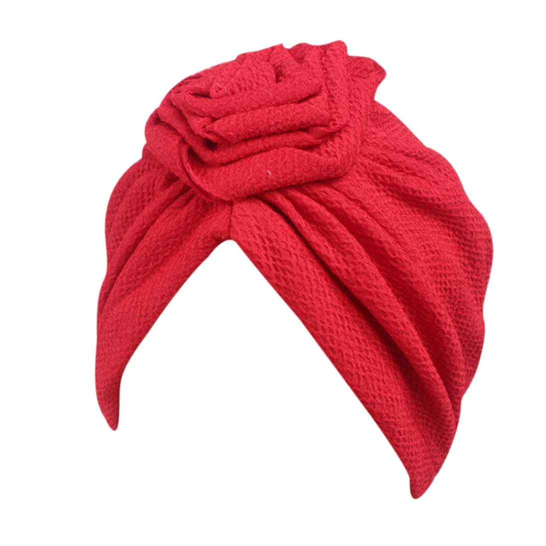 Compia Women Roses Knot Chemo Hat Beanie Scarf Turban Head Wrap Solid Color Cap