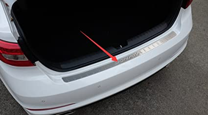 Salusy Outer Rear Bumper Sill Plate Protector Guard Cover Pad For Hyundai Sonata 2015 2016 2017 Silver Logo