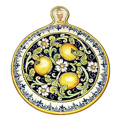 CERAMICHE-DARTE-PARRINI-Ceramica-italiana-artistica-sottopentola-decorazione-limoni-dipinto-a-mano-made-in-ITALY-Toscana