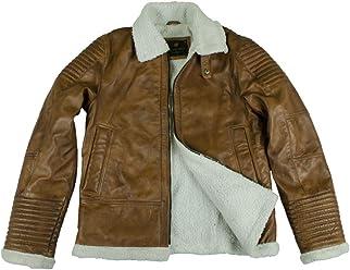 B3 Bomber RAF aviator fur collar sheep skin Brown F2 WWII leather jacket mens