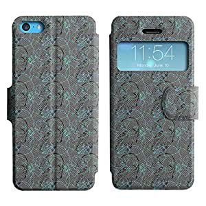AADes Scratchproof PU Leather Flip Stand Case Apple iPhone 5C ( Sketchy Skull )