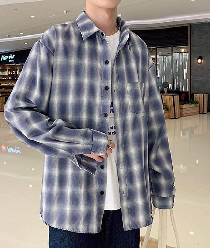 Coolred-Men Fashion Long-Sleeve Plaid Japanese Loose Junior Shirt
