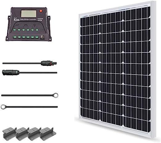 100W 12v solar charging kit 10A controller 6m cable camper caravan boat FAST