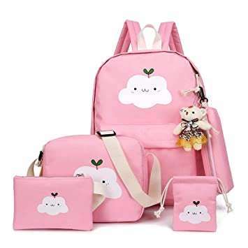 06a3320e3 Amazon.com | 5 Pcs/Set Canvas Women Backpack Cute Cloud Printing School  Backpacks Schoolbag For Teenagers Girl Boy Casual Travel Bag Rucksack |  Kids' ...