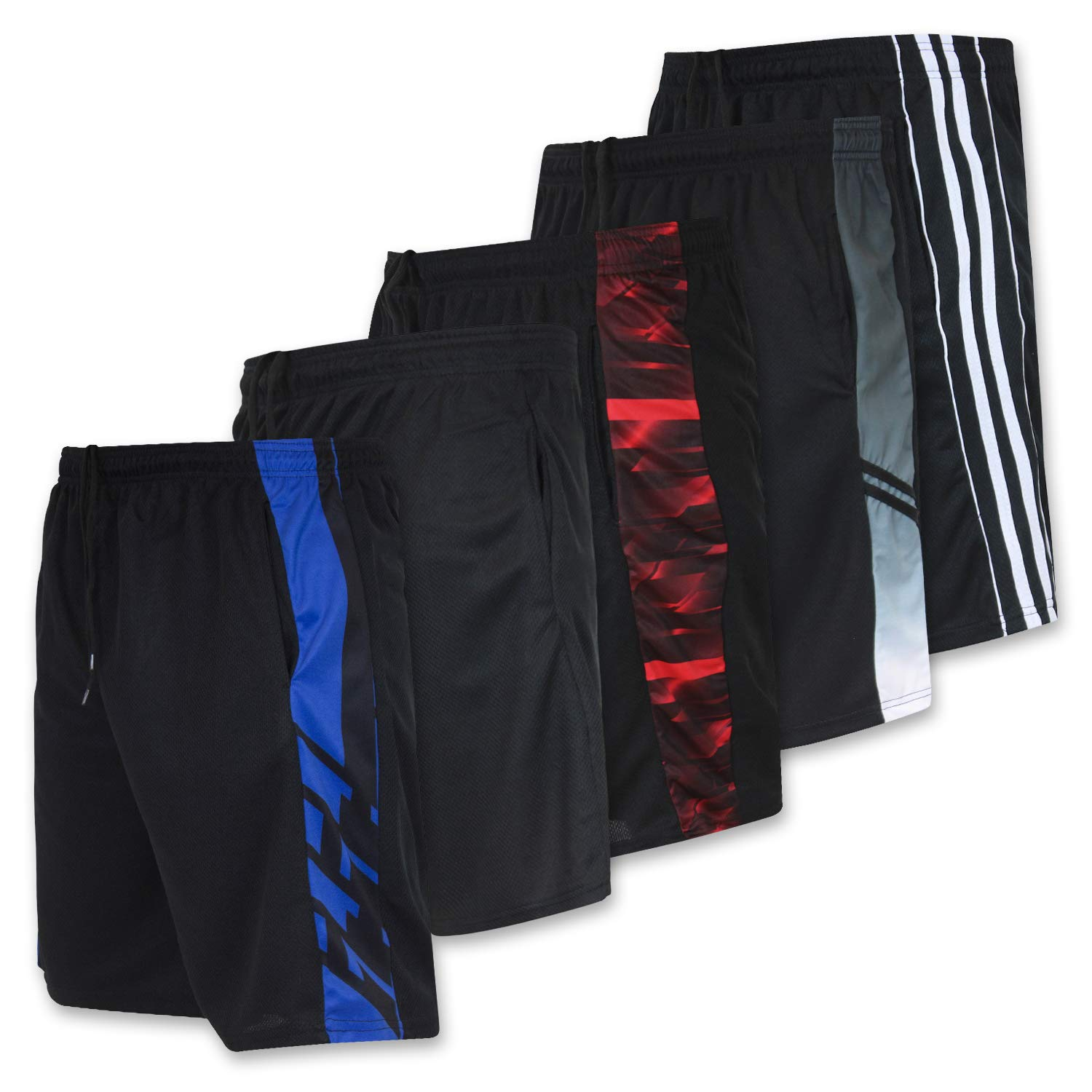 Men's Active Athletic Basketball Essentials Performance Gym Workout Shorts with Pockets - Set 8-5 Pack, S