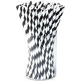 Paper Drink Straws Biodegradable Black - Value Pack 100 Pcs Eco-frendly Straws Bulk for Party Supplies | Birthday | Wedding | Bridal | Baby Shower | DIY Idea (Black&White)