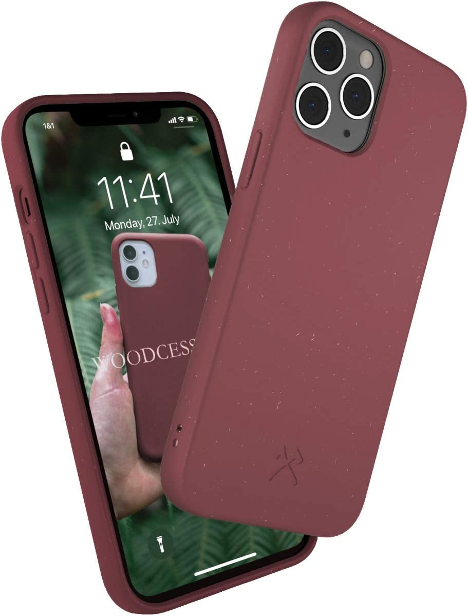 Woodcessories - Phone Case Compatible with iPhone 12 Case Red, iPhone 12 Pro Case Red - Ecofriendly, Made of Plants