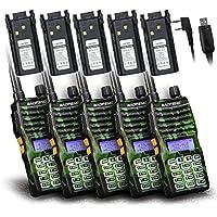 Baofeng - 5PCS UV-5XTP 8W Dual Display VHF136-174MHz UHF400-520MHz Handheld Two-way Radio Standby Transceiver Walkie Talkie+Backup Battery+Programming Cable