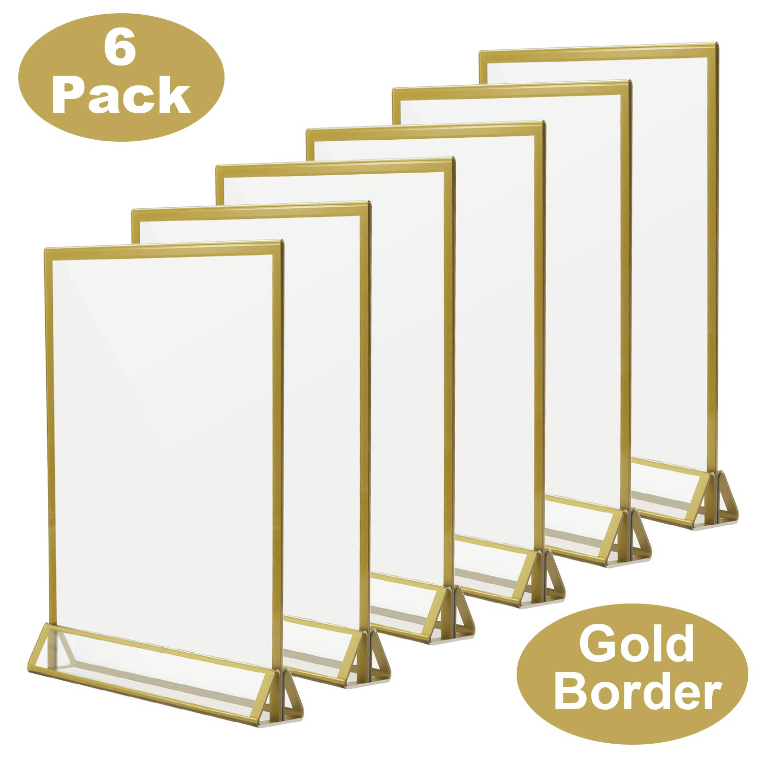 TOROTON Clear Acrylic Sign Holder with Gold Borders and Vertical Stand, 8.5 x 11 Double Sided Table Display for Wedding Table, Photos Display - Pack of 6 by TOROTON