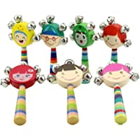 Cdet 1X Wooden Handbell Rattles Colorful Cute Doll Silver Bell Musical Educational Wooden Instrument Toy for Sound Keepsake Toddler Baby Random Color
