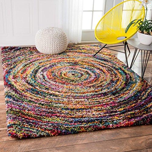 Soft & Plush Swirl Geometric Multi Shag Area Rugs, 4 Feet by 6 Feet (4' x 6')