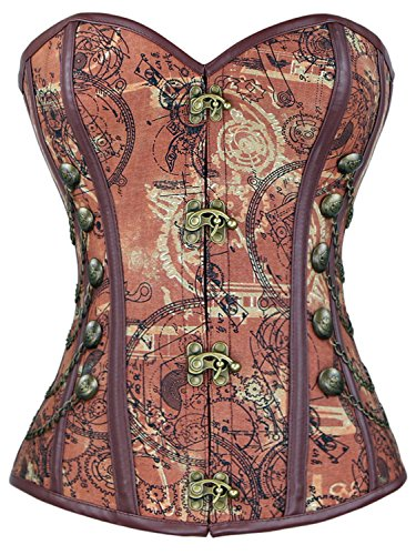 - Charmian Steampunk Brown Jacquard Steel Boned Busk Closure Outerwear Corset Light Brown Large