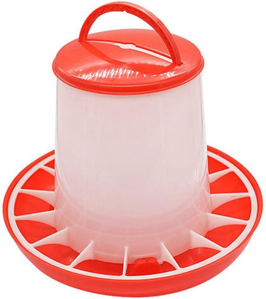 mangiatoia per polli per polli galline e pulcini Hunpta con coperchio e maniglia in plastica capienza 1,5/kg