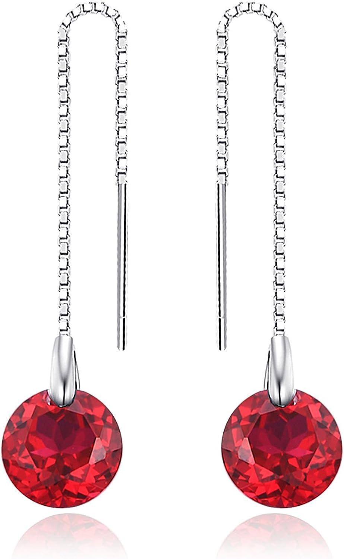 JewelryPalace Pendientes Elegante largo adornado Rubí Zafiro Creado en Plata de ley 925