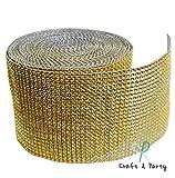 Diamond Mesh Wrap Roll Rhinestone Crystal Ribbon 4.5'' x 10 yards (Gold)