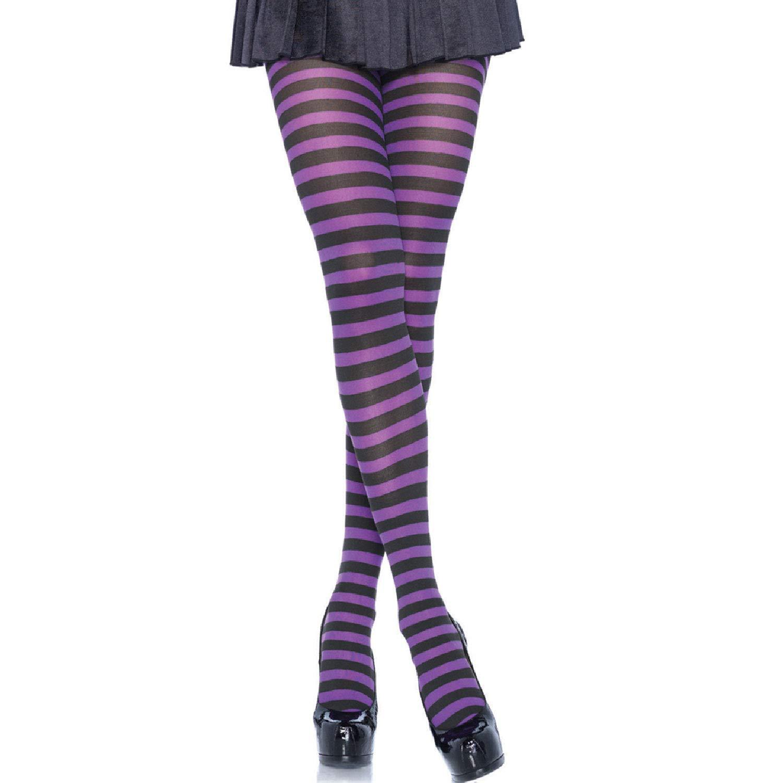 62eba0679724a Amazon.com: Leg Avenue Women's Nylon Striped Tights: Clothing