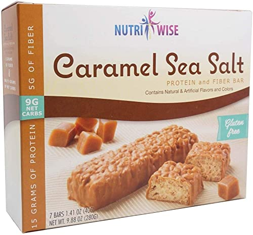 NutriWise - Divine Caramel Sea Salt Bars 7 Box High Protein Gluten Free, High Fiber, Low Fat, Low Carb, Low Calorie