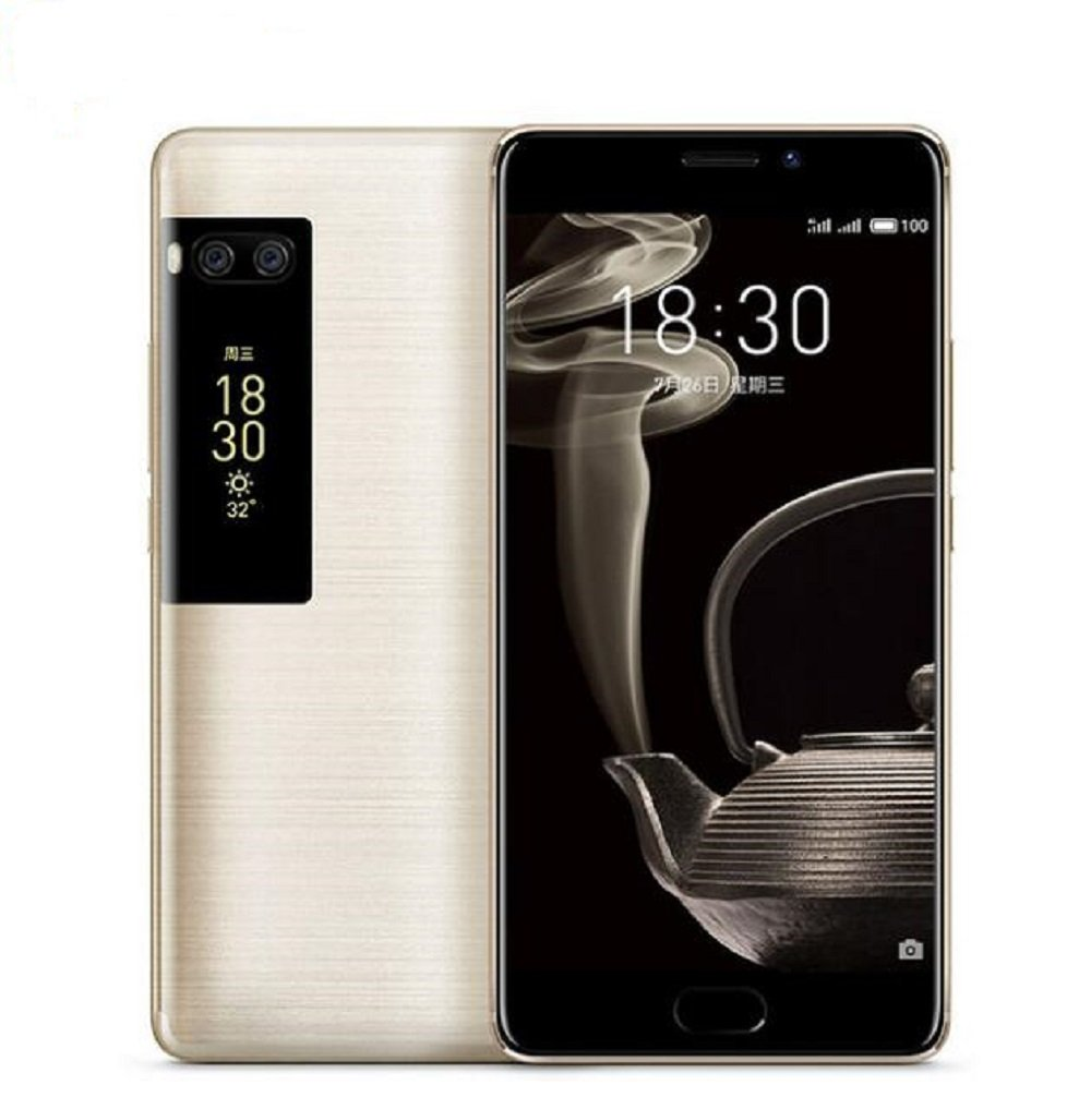 Meizu Pro 7 Plus Unlocked 4G LTE Smartphone Deca Core 6GB RAM 64GB ROM 5.7'' 2K Super AMOLED Two-sided Screen Dual Rear 12MP Camera Fingerprint Recognition Fast Charge Cell Phone (Gold)