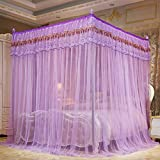 Is There a Bed Bigger Than a King KQCNIFVNKLM Solid four corner mosquito net bed canopy,Mesh korean princess bed canopy three door stainless steel encryption top mosquito net-purple Queen1