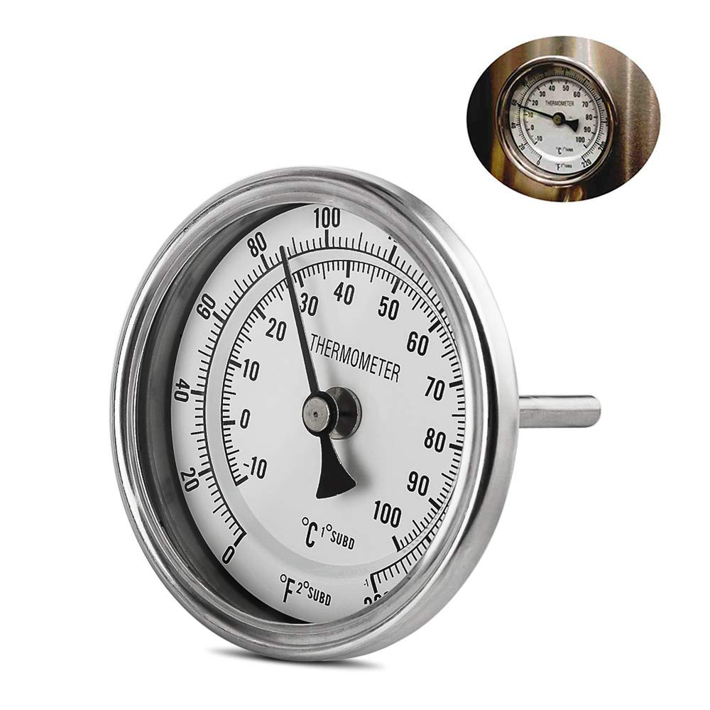 OneBom Brewing Dial Thermometer, 1/2 NPT Stainless Steel, Quick Read with Dual Scale 0-220ºF & -10-100ºC (3'' Face with 2'' Probe for Brew Pot) by OneBom