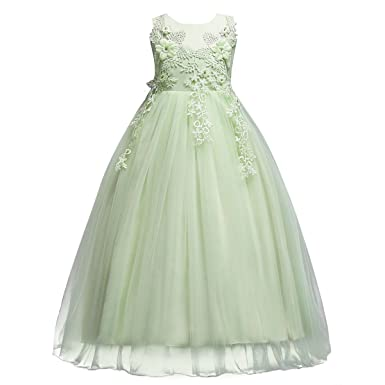 IBTOM CASTLE Flower Girls Lace Applique Embroidered Dress Kids Princess Light Green 5-6 Years