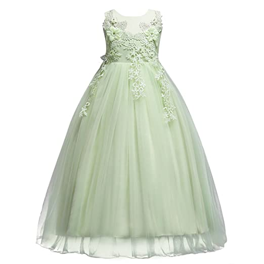a9f2782dc144d Little Big Girl Flower Tulle Dress Princess Pageant Birthday Party Wedding  Formal Floor Long Dance Evening Maxi Gown