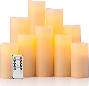 "Eldnacele Flameless Flickering Pillar Candles, LED Battery Operted Candles with Remote and Timer, Set of 9(H 4"" 5"" 6"" 7"" 8"" 9"" xD 2.2"") Real Wax for Christmas Decoration, Ivory"