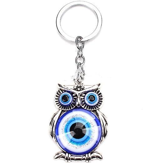Blue Evil Eye (Nazar) Owl Key Ring Blessing Protection Religious Charm Birthday Blessing Congratulatory Gift (Blue&White owl)