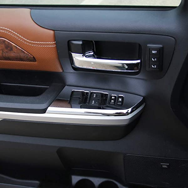 Justautotrim Brushed Steel Control Dashboard Protective Cover Trims for 2014 2015 2016 2017 2018 Toyota Tundra