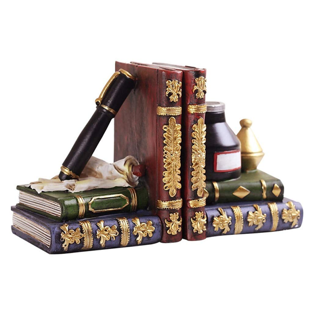 Zunruishop Bookend Supports Decorative Bookends Pen and Ink Bottle with Oil Lamp Antique Style Office Study Wine Cabinet Desktop Decorations Nonskid Bookends by Zunruishop