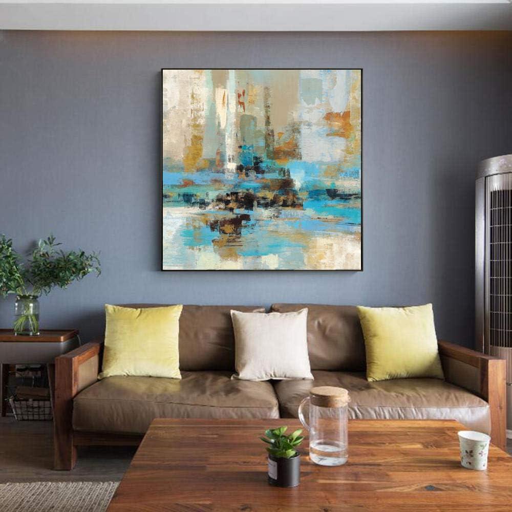 Impresiones abstractas de la lona del arte de la pared de la turquesa azul y verde, cuadros modernos de la pintura del arte del graffiti de la pared para la sala de estar 60x60cm sin marco
