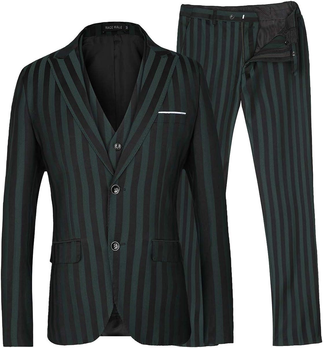 Men/'s Navy Blue Stripe Formal Vest Business Casual Waistcoat XS-3XL