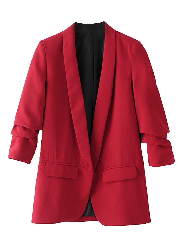 SheIn Women's Shawl Collar 3/4 Ruched Sleeve Open Front Blazer Jacket