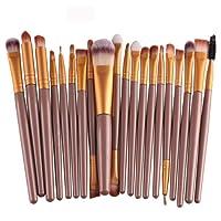 JUNGEN 20 Pcs Kit de Mini Pinceau de Maquillage Cosmétique Professionnel Ensembles Outils Pinceau Poudre Fond de Teint Brosse de Maquillage Maquillage Set de brosse Maquillage Kit de Toilette Makeup Brushes Café