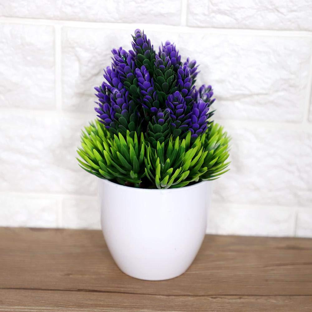 Duokon Fleurs artificielles avec Vase Vases en Plastique Bonsa/ï en Plastique Ameublement Maison de Vacances Mariage Rose