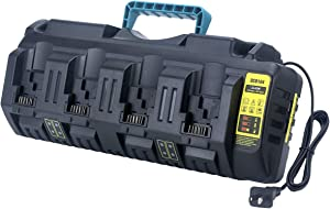 Biswaye DCB104 20V 4-Port Battery Charger for DEWALT 12V/20V MAX Lithium Battery DCB205-2 DCB204 DCB203 DCB206 DCB120 DCB127 DCB606 Dewalt Charger DCB102 DCB102BP DCB118 DCB107 DCB112