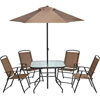 Mosaic 6-Piece Folding Patio Dining Furniture Set with Umbrella