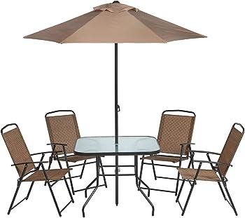 Mosaic 6-Piece Folding Patio Dining Furniture Set with Umbrella