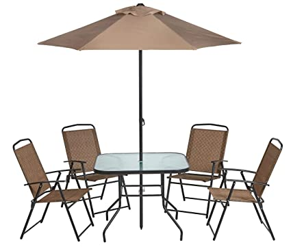 Amazoncom Outdoor 6 Piece Folding Patio Dining Furniture Set With