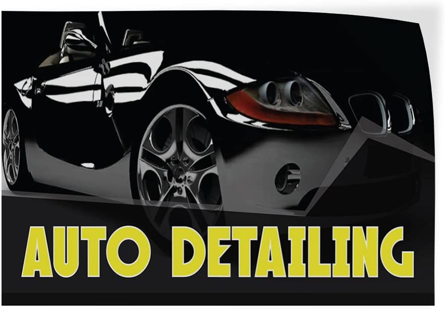 One Sticker Decal Sticker Multiple Sizes Auto Detailing #1 Style M Automotive Auto Detailing Outdoor Store Sign Black 69inx46in