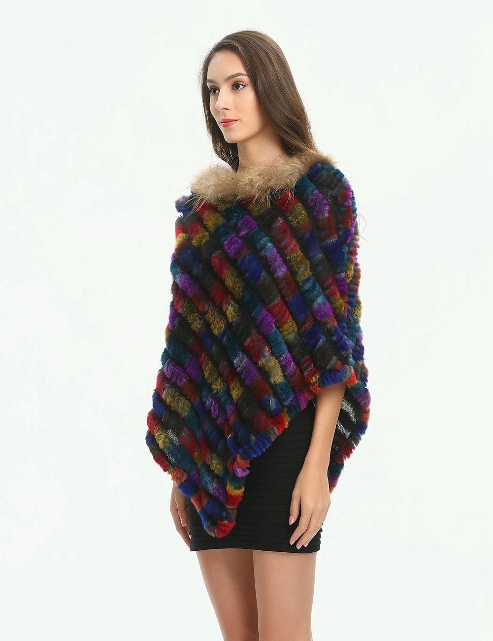 Ferand - Poncho Elegante Mantella Casdo Inverno A Maglia in Pelliccia Vera  di Coniglio con Colletto ingrandisci 0f554c293f3