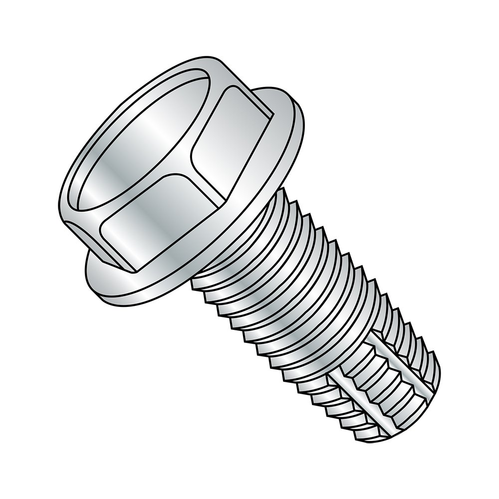 Pack of 10 Zinc Plated Finish Hex Washer Head 2-1//2 Length Type F Steel Thread Cutting Screw 5//16-18 Thread Size