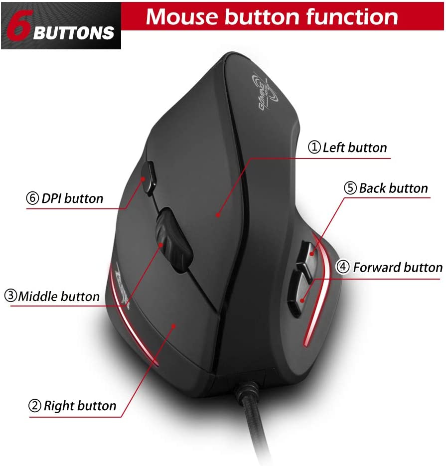 Notebook,PC,Mac,Desktop,Laptop Vertical Mouse,Zelotes T20 Ergonomic Mouse,3200 DPI 6 Buttons LED Optical USB Wired Gaming Mouse mice for Gamer Black